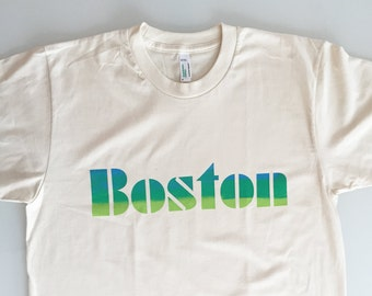 Old School Boston Font Adult Tee - blue and green print on organic white shirt - unisex size SMALL