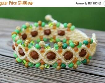 SALE Micro-Macrame Beaded Bracelet - Brown and Green