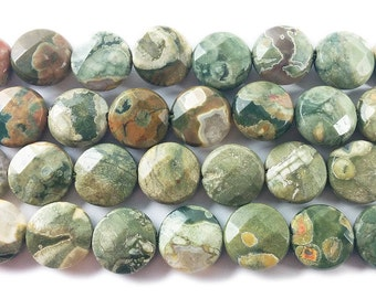 Rhyolite Jasper Coin Gemstone Beads