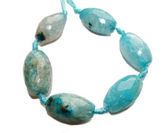 Light Blue Faceted Rice Agate Gemstone Beads