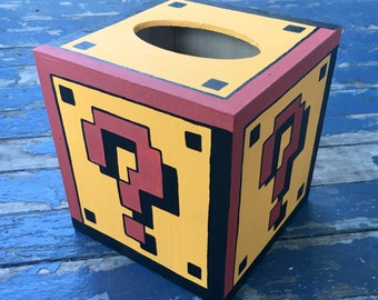 Mystery Block Tissue Box Mario Hand Painted Nintendo Geekery 8 Bit Video Game Arcade Dad Grad Gift