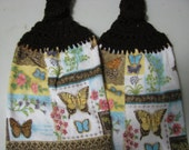 Butterflies and Flowers - Set of Two Hand Crocheted Kitchen Top Towels