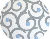 Grey Swirls Baby Blue Dots Hand Painted Wood KIDS Decorative Dresser Furniture Hardware Drawer Pulls Knobs Nursery Room Childrens Art Decor