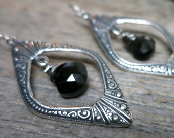 Hekate's Crossroads earrings ... antique silver chandeliers / wire wrapped black spinel / hand forged sterling earwires