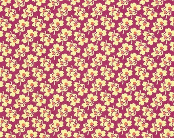 Amy Butler Eternal Sunshine Pansies in Cerise cotton quilt fabric - half yard, Amy Butler fabric