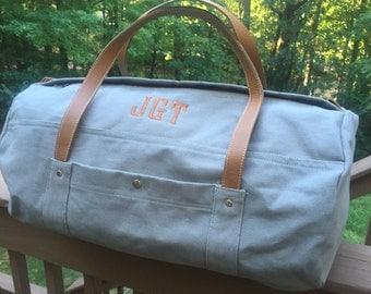Mens Monogrammed Gray Canvas Duffle Weekender Bag Duffel Large Genuine Leather Handles Graduation Gift