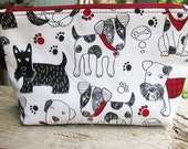 Zippered Pouch | Makeup Bag | Lined Zipper Bag | Veterinarian Gift | Cute Dog Fabric Makeup Bag | Small Gift Under 20 | Camera Accessory Bag