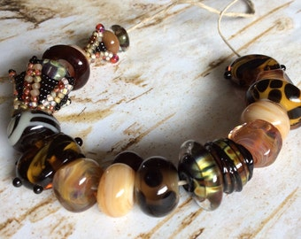 Lampwork Glass Bead Set in Neutral Browns