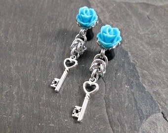 Dangle Plugs - 10g - 8g - 6g - 4g - 2g - 0g - Heart Key Plugs - Rose Gauges - Chainmaille Jewelry