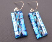 Long Turquoise 3 strip dichroic glass earrings sterling silver ear wires Fused Glass jewelry  McCray Studios Coastal California