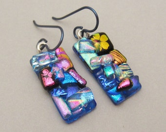 Light  Blue Crazy Quilt texture dichroic glass earrings Hypo-allergenic Niobium ear wires Fused Dichroic Glass earrings long dangle drops