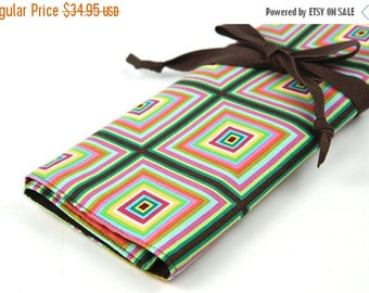 Sale 25% OFF Large Knitting Needle Case  - Kaleidoscope - brown pockets for all size needles or paint brushes