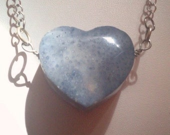 Blue fossil coral carved heart necklace