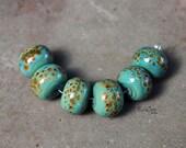 Terrapin - Handmade Lampwork Glass Round Beads - SRA Elasia - MTO
