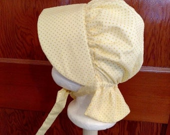 Yellow Dotted Swiss Baby Bonnet, Size 6 to 12 Months
