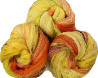 Autumn Aspen - classic batts -- (4.2 oz. per set) hand-dyed organic polwarth wool, bamboo, silk, sari silk, gold sparkle.