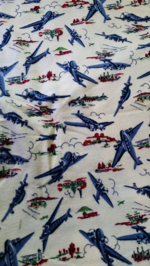 Vintage airplane flannel fabric 2 yards by 42 inches for Childrens airplane fabric