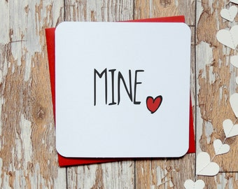 mine red heart love wedding anniversary simple husband wife birthday card uk