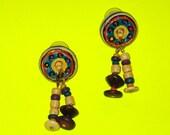 Vintage 1970s Tribal Primitive Colourful Beaded Dangle Drop Earrings