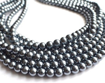 Michelle - Gunmetal Pearl Bridesmaid Statement Necklace
