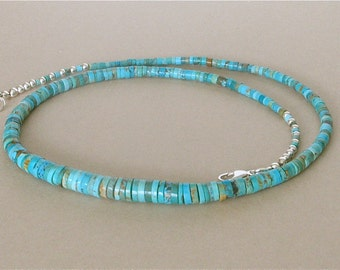 Mexican Turquoise Heishi Necklace or Choker - Graduated Size Blue/Green Heishi From Elisa Mine in Sonora Mexico - Men's or Women's Necklace