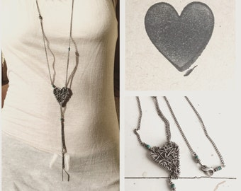 Heart necklace wirewrapped