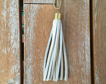 """Leather tassel necklace -- 36"""" BRASS chain (in teal, brown, gray, natural)"""