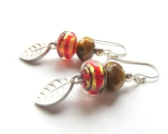 Tiger Eye Leaf Earrings, Brown Lampwork Glass, Woodland Gemstone and Silver, Dainty Drops, Nature Inspired, Silver Leaves, Gift for Her