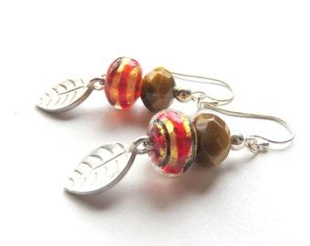 Tiger Eye Earrings - Lampwork Glass an Gemstone Earrings - Silver Leaf Earrings - Woodland Jewelry