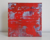 """Small original abstract acrylic painting on wood by Lisa Carney - Candy Apple - Gift idea - Collectible art - Red Miniature Colorfield 6x6"""""""