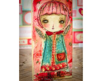 Valentine Cupid #3 - An original Valentine's Day Cupid angel girl, it's a paper collage painting created by Danita Art