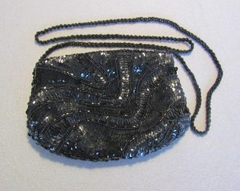 Black La Regale Evening Bag with Sequins and Beads