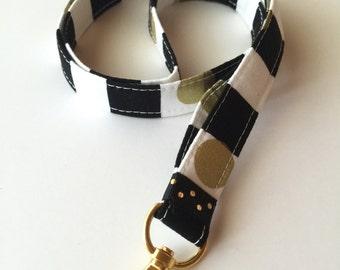 Stripe neck lanyard - gold - ID Lanyard - gold key fob - gold lanyard - black stripes - lanyard - key lanyard - key fob - teachers lanyard