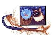 Siamese Cat Bookmark Seal Point Siamese Bookmarker Koi Fish Crystal Ball Fantasy Cat Art Mini Bookmark Cat Lovers Gift