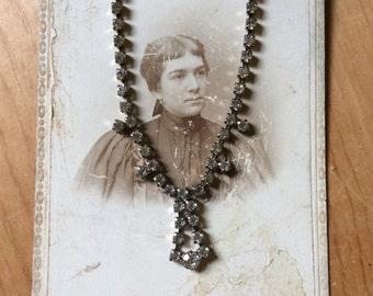 SALE Destash Vintage Rhinestone Necklace - Antique Cabinet Card - Destash -  Antique Photograph - crystals - rhinestones -SALE Offers