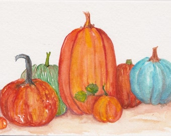 Pumpkins Watercolors Paintings Original 5 x 7 original watercolor painting of pumpkins, kitchen decor, the usual Fall suspects