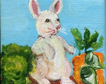 Rabbit mini painting canvas art, buuny in garden easel 3 x 3 small bunny artwork, animal art, , mini canvas art, SharonFosterArt