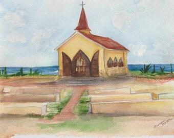 Alto Vista Chapel, Aruba original watercolor painting, SharonFosterArt