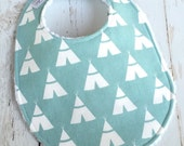 Baby Bibs for Baby Boy  - Single Bib  Tee Pee - Tribal Baby Bib in Canal Blue  - Triple Layer Chenille - BLUE TEE PEES