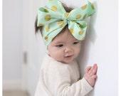 Headwrap, Girls Headwrap, Baby Headwrap, HeadWrap, Girls Headband, Big Bow Headwrap, Gold Polka Dots on Mint - GLITZ & GLAM MINT