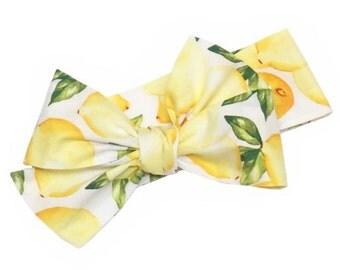 Headwrap, Girls Headwrap, Baby Headwrap, Head Wrap, Big Bow Headwrap, Photo Prop, Yellow Lemons - LEMONADE