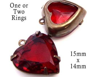 Ruby Red Vintage Glass Beads, Heart Pendant or Earrings, Brass Settings, Sheer, 15mm, One or Two Rings, Cabochon, Rhinestones, One Pair