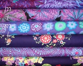 PURPLE & BLUE / Kaffe Fassett Fabric and Amy Butler fabric6 Half Yard Bundle  /Westminster Fabric Cotton, Quilt Craft and Apparrell fabric