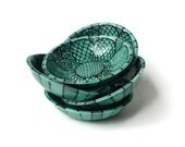 Small Bowl with Flower Doodle Design - Turquoise and Black