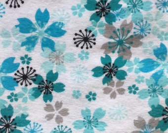 Teal Green Blue Flowers - Weighted Blanket - Choose your weight and minky color - special needs - black gray white flannel
