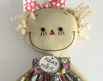 Gracie, handmade cloth rag doll, Gray Floral Dress, Blond Hair