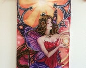 Summer, sunset, fairy queen, girl's room, fantasy print, art hanging, wall scroll, - by Meredith Dillman