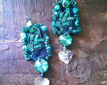 One Shining Heart Earrings, Vintage Embroidery, Beaded, Crystal, Hammered Hearts, Boho, Hearts