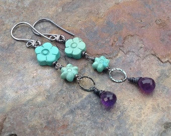 TURQUOISE and AMETHYST earrings, Carved Turquoise flowers, sterling silver, handmade artisan jewelry, AngryHairJewelry
