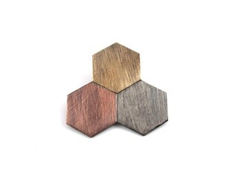 Super Sale! Geometric Hexagon Brooch - Mixed Metal Brooch